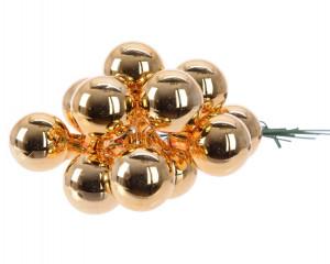 Skleněné dekorační kuličky, s drátkem, svazek 12ks, průměr 2cm, mosazná lesk