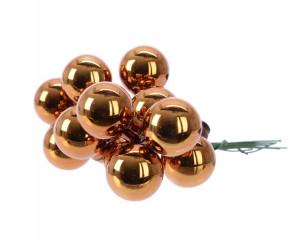 Skleněné dekorační kuličky, s drátkem, svazek 12ks, průměr 2cm, rezavá lesk
