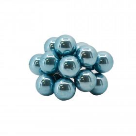 Skleněné dekorační kuličky, s drátkem, svazek 12ks, průměr 2cm, světle modrá glazura
