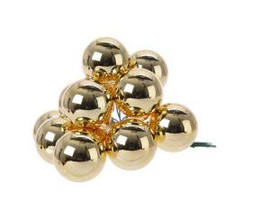 Skleněné dekorační kuličky, s drátkem, svazek 12ks, průměr 2cm, světle zlatá lesk