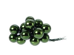 Skleněné dekorační kuličky, s drátkem, svazek 12ks, průměr 2cm, tmavě zelená lesk