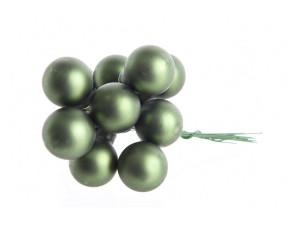 Skleněné dekorační kuličky, s drátkem, svazek 12ks, průměr 2cm, tmavě zelená mat