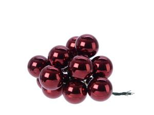 Skleněné dekorační kuličky, s drátkem, svazek 12ks, průměr 2cm, vínová lesk