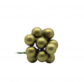 Skleněné dekorační kuličky, s drátkem, svazek 12ks, průměr 2cm, zelená mat