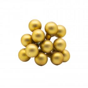 Skleněné dekorační kuličky, s drátkem, svazek 12ks, průměr 2cm, zlatá mat