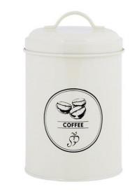 Smaltovaná dóza s víkem, Esschert Design COFFEE, objem 1.3 l, krémová