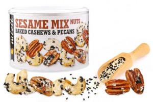 Směs ořechů se solí a sezamem, Mixit OŘÍŠKY Z PECE, dóza, 150 g