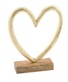 Srdce na podstavci, kov a dřevo, 12x2.5x17cm, přírodní-zlatá