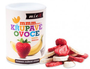 Sušené křupavé ovoce, Mixit BANÁN A JAHODA, dóza, 80 g