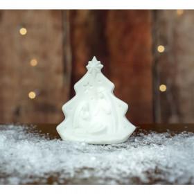 Svatá rodina svíticí, keramika, LED, 8.7x4.5x9.5cm, bílá