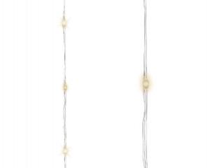 Světelný řetěz, venkovní, microLED, teplá bílá, stříbrný kabel, délka 12m