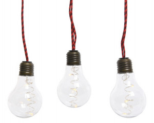 Světelný řetěz žárovka, vnitřní, microLED, teplá bílá, červený kabel, délka 270cm