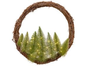 Svítící věnec, proutí-plast, les, 30microLED, teplá bílá, průměr 50cm, přírodní - zelená