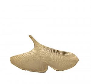 Talíř, kov, tvar ginkgo, 23cm, zlatá