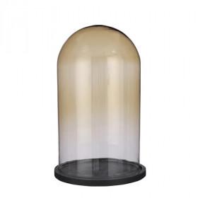 Talíř s poklopem HELLA, dřevo a sklo, průměr 23cm, výška 37.5cm, hnědá