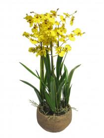 Umělá orchidej Malibu, v květináči, žlutá, výška 70 cm