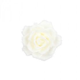 Umělá růže, květ, látka, na klipu, průměr 14cm, krémová