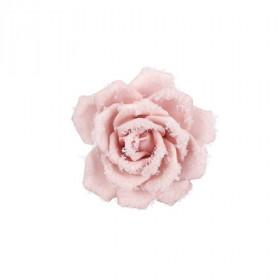 Umělá růže, květ, látka, na klipu, průměr 14cm, světle růžová