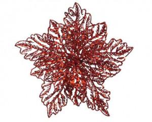Umělá vánoční hvězda - poinsettia, květ, na klipu, průměr 23.5cm, červená