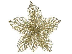 Umělá vánoční hvězda - poinsettia, květ, na klipu, průměr 23.5cm, zlatá
