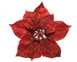 Umělá vánoční hvězda - poinsettia, květ, na klipu, s glitry, průměr 26cm, červená