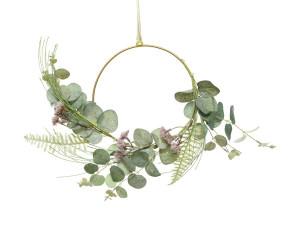 Umělý kruh, Eukalyptus s květy, průměr 20cm, zelená