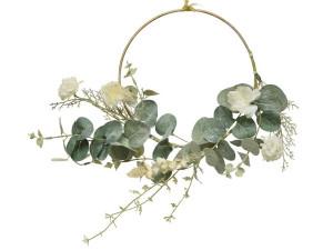 Umělý kruh, Eukalyptus s květy, průměr 20cm, zeleno-bílá