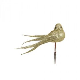 Umělý pták na klipu, s glitry, 14x18cm, zlatá