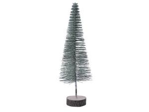 Umělý stromek na podstavci, s glitry, zasněžený, průměr 10cm, výška 19cm, zelená