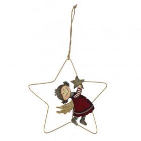 Vánoční ozdoba, dívka ve hvězdě, 17x17cm, kov a dřevo, červeno - zlatá