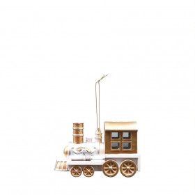 Vánoční ozdoba, lokomotiva, 5x12x8cm, hnědo-bílá