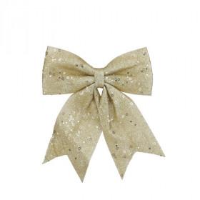 Vánoční ozdoba, mašle, na klipu, s glitry, 34cm, zlatá
