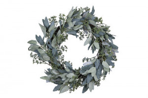 Vánoční věnec Eukalyptus umělý, květy, průměr 50cm, zelená