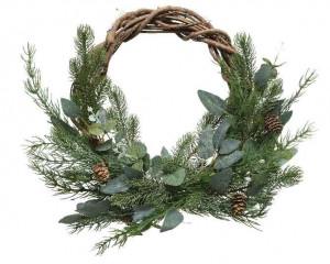 Vánoční věnec, jehličí-listy-šišky, proutí, 40cm, přírodní - zelená