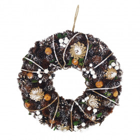 Vánoční věnec, šišky-bobule-jablka, zasněžený, průměr 36cm, přírodní