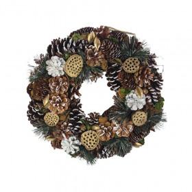 Vánoční věnec, šišky-bobule-lotus-jehličí, průměr 38cm, přírodní - zelená