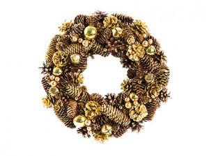 Vánoční věnec, šišky-bobule-rolničky, průměr 36cm, zlatá