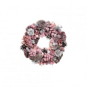 Vánoční věnec, šišky-jehličí-květy-plody, průměr 29cm, růžová