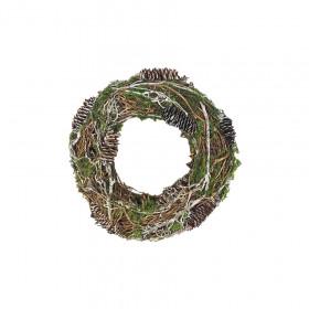 Vánoční věnec, šišky-mech-větve, průměr 25cm, zeleno - hnědá