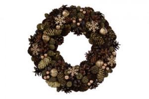 Vánoční věnec, šišky-rolničky-vločky, průměr 34cm, přírodní - zlatá