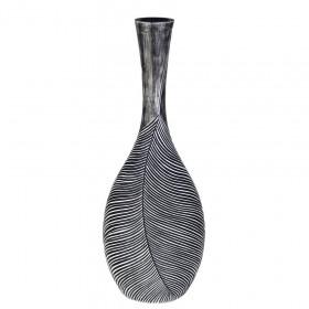 Váza, polyresin, dekor list, 24x12.5x68cm, černá