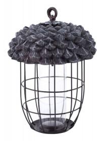 Závěsné krmítko pro ptáky, Esschert Design Žalud, polyresin a kov, černé