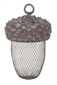 Závěsné krmítko pro ptáky, Esschert Design Žalud, polyresin a kov, hnědé