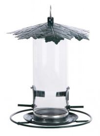 Závěsné krmítko pro ptáky na zrní, Esschert Design List, plast a kov, stříbrné