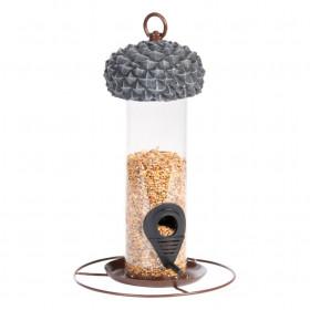 Závěsné plastové krmítko pro ptáky, Esschert Design Žalud, hnědé
